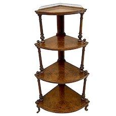 Fine Quality Antique Victorian Inlaid Burr Walnut Corner Whatnot