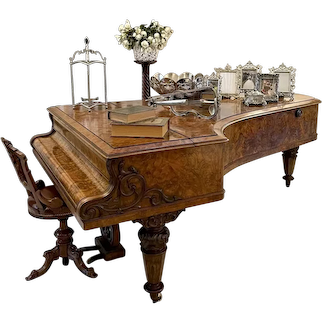 Magnificent Exhibition Quality Antique Victorian Burr Walnut Highly Decorated Grand Piano by Collard & Collard, London