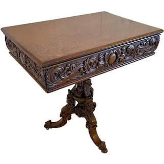 Outstanding Quality Antique Victorian Carved Oak Centre Table