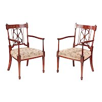 Quality Pair of Antique Mahogany Inlaid Arm/Desk Chairs