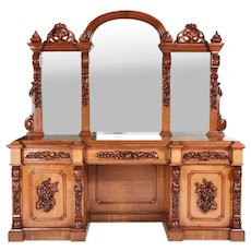 Magnificent Large 19th Century Victorian Antique Carved Oak Mirror Back Sideboard