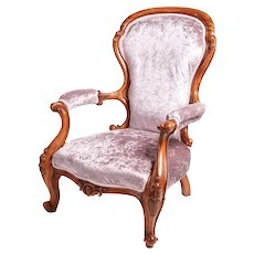 Fine Victorian Antique Carved Walnut Armchair