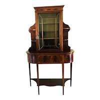 Quality Unusual  Antique Mahogany and Satinwood Inlaid Display Cabinet