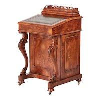 Victorian English Burr Walnut Antique Freestanding Davenport