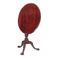 18th Century Antique Carved Mahogany Dish Top Tripod Table