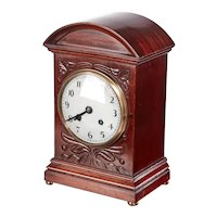 Edwardian Antique Carved Mahogany Mantel Clock