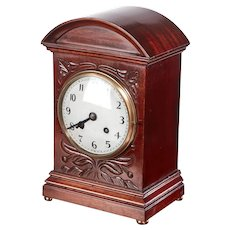 Edwardian Antique Carved Mahogany Mantel Clock