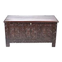 18th Century Antique Carved Oak Coffer