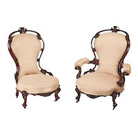 Outstanding Pair of Antique Victorian Carved Walnut Chairs