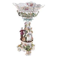 19th Century Antique Meissen Style Pedestal Comport