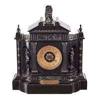 Large Antique Outstanding Victorian Marble Architectural Mantle Clock