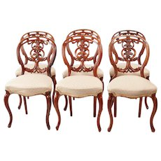 Quality Set of Six Victorian Antique Carved Walnut Dining Chairs