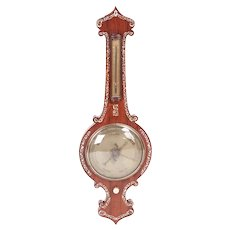 19th Century Antique Rosewood Inlaid Mother of Pearl Banjo Barometer