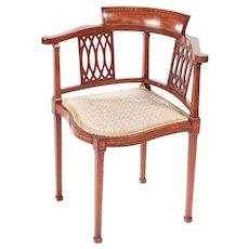 Antique Mahogany Inlaid Corner Chair c.1890