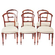 Fine Set of Six Antique Victorian Walnut Dining Chairs