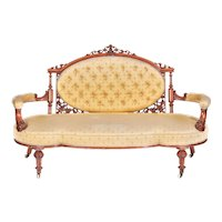Outstanding Victorian Antique Carved Walnut Settee