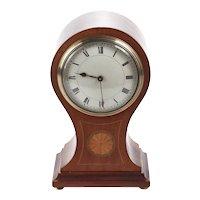 Antique Edwardian Inlaid Mahogany Balloon Clock