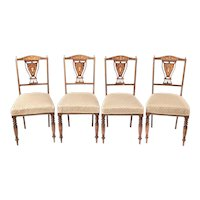 Set of 4 Edwardian Antique Rosewood Inlaid Dining Chairs