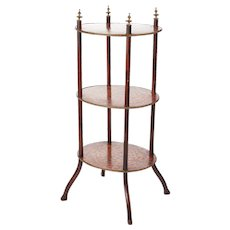 Antique Victorian Three Tier Oval Inlaid Stand c.1860