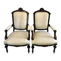 Fine Pair of Victorian Antique Carved Hardwood Library Chairs
