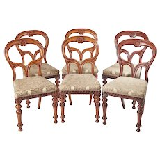 Outstanding Set of Six Mahogany Balloon Back Chairs c.1860