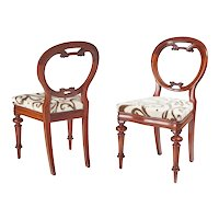 Superb Pair of Antique Victorian Mahogany Balloon Back Chairs