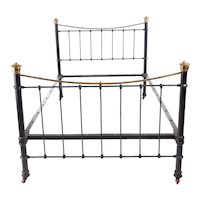 Antique Victorian Brass and Iron Bed
