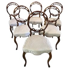 Fine Quality Set of Six Victorian Antique Walnut Dining Chairs