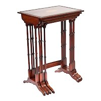 Fine Quality Antique Edwardian Mahogany Nest Of Quartetto Tables