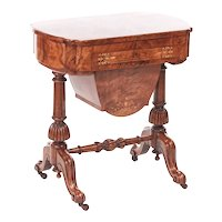 Outstanding Antique Early Victorian 19th Century Inlaid Burr Walnut Writing or Sewing Table