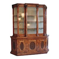 Magnificent Exhibition Quality Victorian Burr Walnut Carved Breakfront Display Cabinet