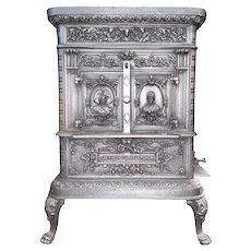 Antique Victorian Ornate Cast Iron Wood Burning Stove by De Dietrich & Niederbronn