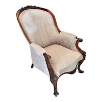 19th Century Antique Victorian Mahogany Carved Library Chair