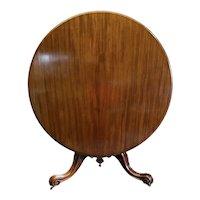 English Victorian Antique Mahogany Round Breakfast Table