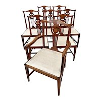 Fine Quality Set of Eight Antique George III Style Mahogany Inlaid Dining Chairs