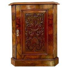 Antique Victorian Burr Walnut Carved Corner Cupboard