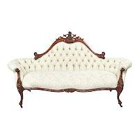 Antique 19th Century Victorian Walnut Carved Sofa