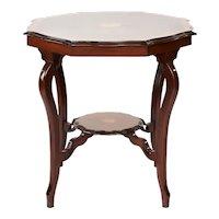 Antique Edwardian Octagonal Shaped Inlaid Mahogany Table