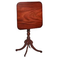 Antique Regency Square Mahogany Tilt Top Table
