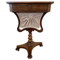 Antique Freestanding William IV Rosewood Chess Top Sewing Table