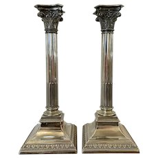 Pair of Antique Plated Corinthian Candlesticks