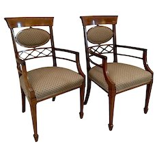 Pair of Victorian Antique Inlaid Desk Chairs