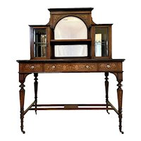 19th Century Antique Victorian Inlaid Marquetry Writing Desk