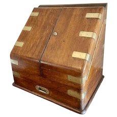 19th Century Antique Victorian Figured Oak Military Stationery Box