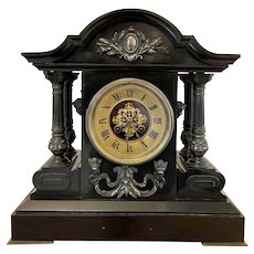 Large Antique 19th Century French Marble Eight Day Mantel Clock