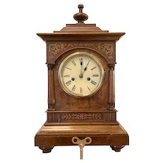 Antique Victorian Inlaid Walnut Eight Day Mantel Clock