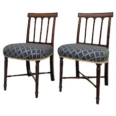 Pair Antique George III Mahogany Side/Desk Chairs