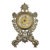 19th Century Antique Victorian Ornate Brass Desk Clock