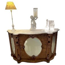Outstanding Quality Antique Victorian Burr Walnut Marble Top Credenza