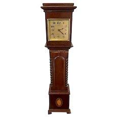 Edwardian Antique Inlaid Mahogany Miniature Grandfather Clock